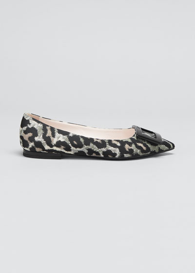 Gommettine Leopard-Print Buckle Ballerina Flats