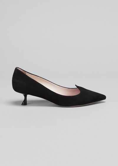 I Love Vivier Suede Kitten-Heel Pumps