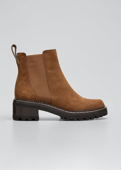 Mallory 30mm Suede Lug-Sole Chelsea Boots