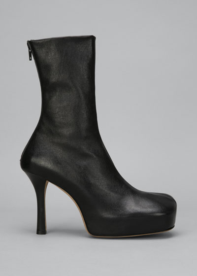 Wave 105mm Platform Stretch Leather Booties