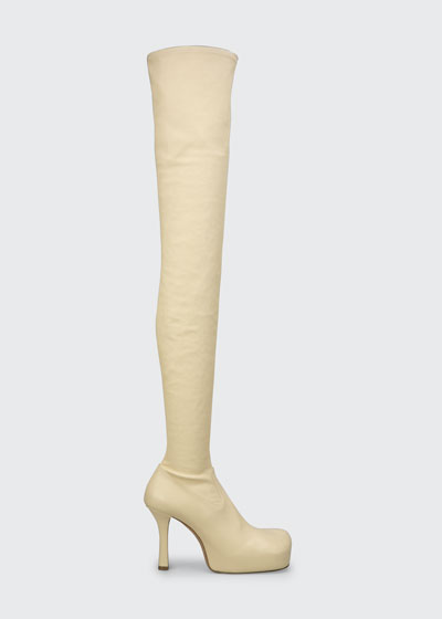 Wave 105mm Platform Stretch Leather Over-the-Knee Boots