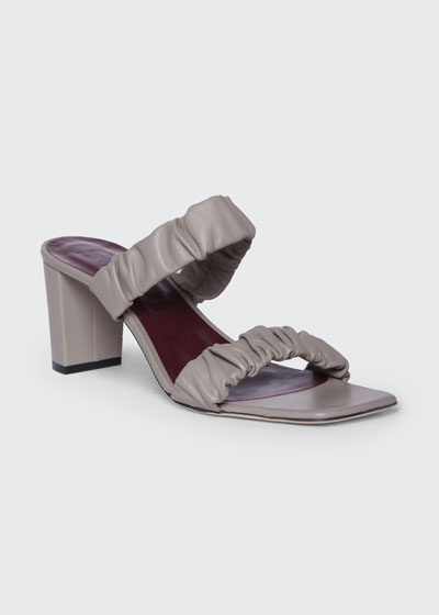 Frankie 65mm Ruched Leather Sandals