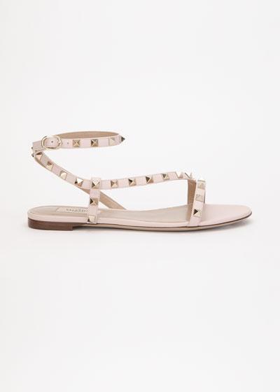 Rockstud Flat Asymmetric Ankle-Strap Sandal