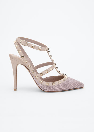 Rockstud 100mm Shining Suede  T-Strap Cage Pumps