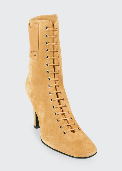 100mm Suede Lace-Up Ankle Boots