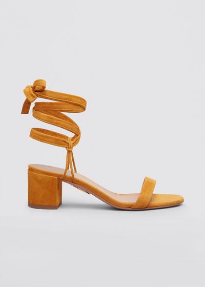 Noha Suede Block-Heel Ankle-Tie Sandals
