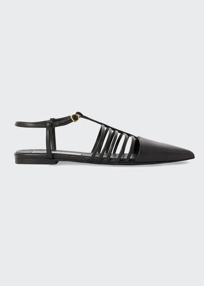 Flat Point-Toe T-Strap Sandals