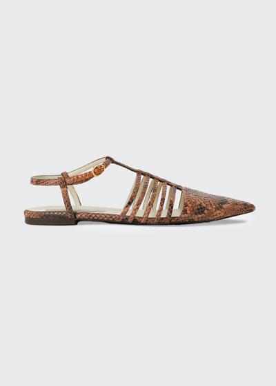 Snake-Print Cage Ankle-Strap Flat Sandals