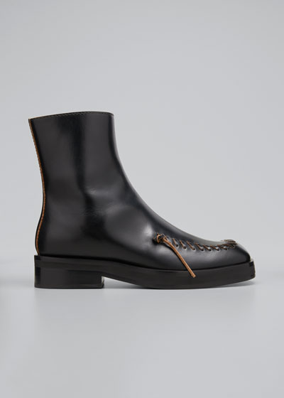 Stitch-Detail Leather Ankle Boots