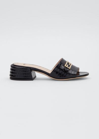 Mock-Croc FF Slide Sandals
