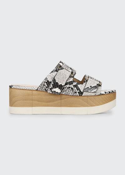 Welda Snake-Print Slide Sandals