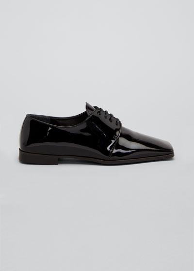 Patent Square-Toe Evening Loafers