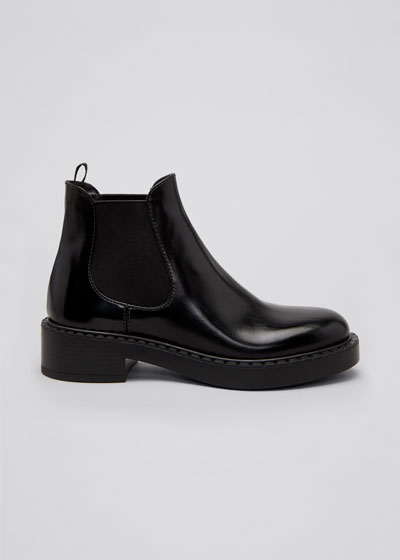 Leather Gored Chelsea Booties
