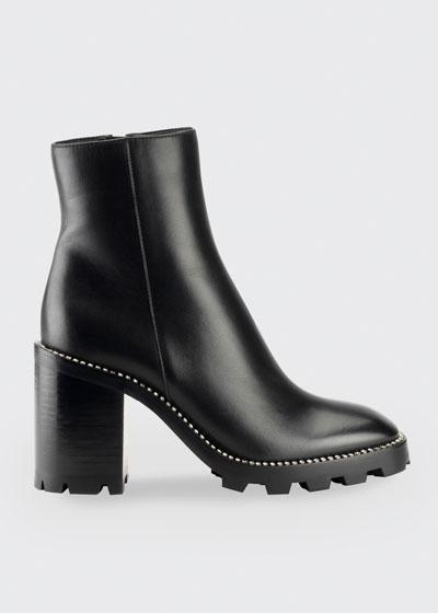 Mava Stud-Trim Lug-Sole Ankle Booties
