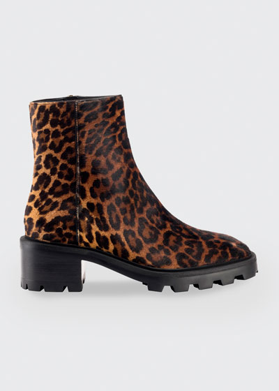 Mava Leopard-Print Fur Ankle Booties