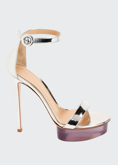 Metallic Metal Rubber Platform Sandals