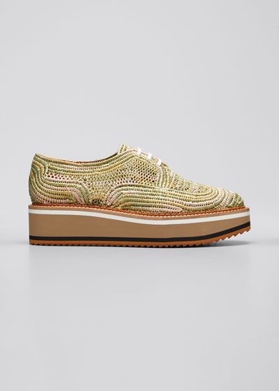 Birtie Colorblock Raffia Platform Derby Shoes