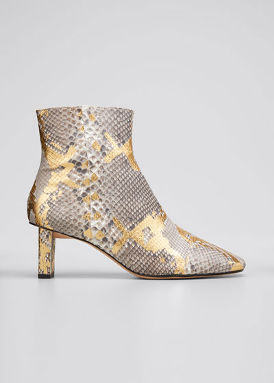 50mm Python-Print Ankle Booties
