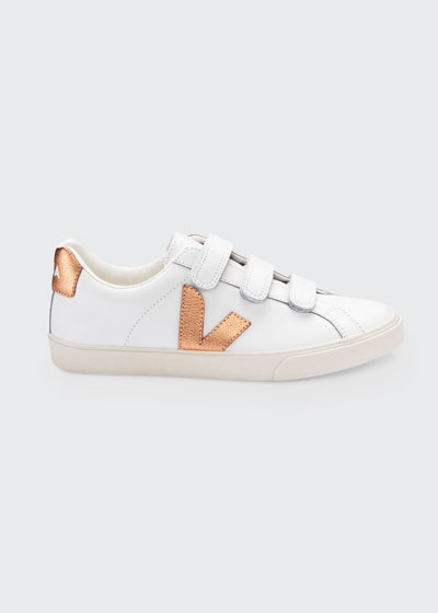 Metallic Logo Grip-Strap Trio Skater Sneakers