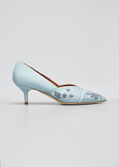 Colette 45mm Floral Embroidered Raffia Kitten Heel Pumps