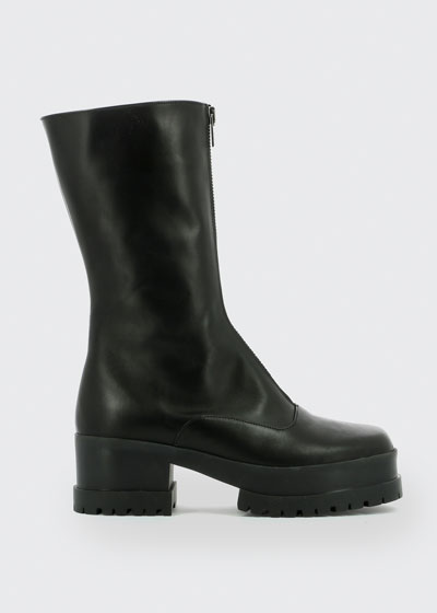 Wallie Leather Zip Platform Boots