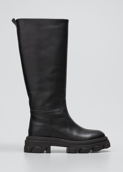 Tubular Leather Tall Combat Boots, Black