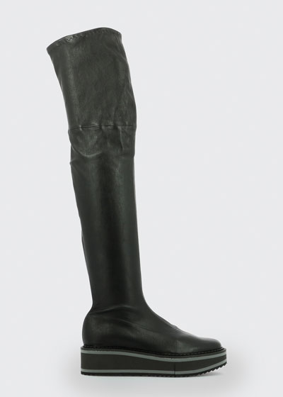 Leather Platform Over-the-Knee Boots