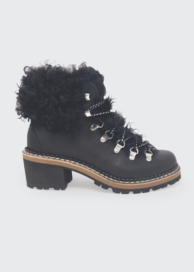 Ninfea Leather Fur Hiker Boots