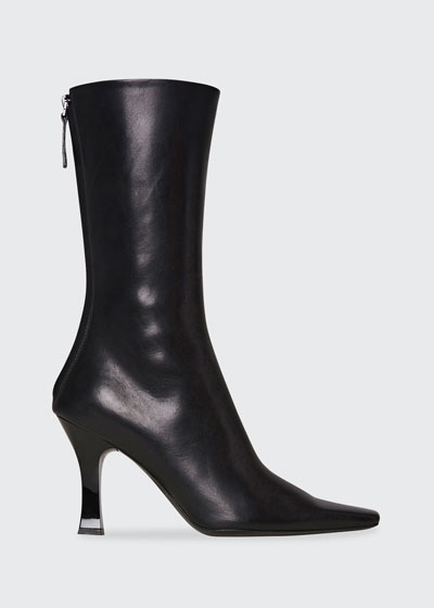 Office Leather Back-Zip Boots
