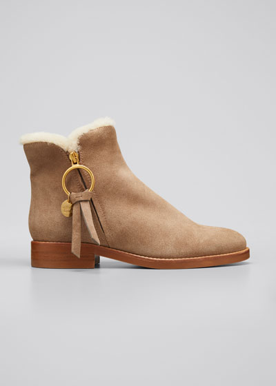 Louise Shearling-Lined Suede Ankle Booties