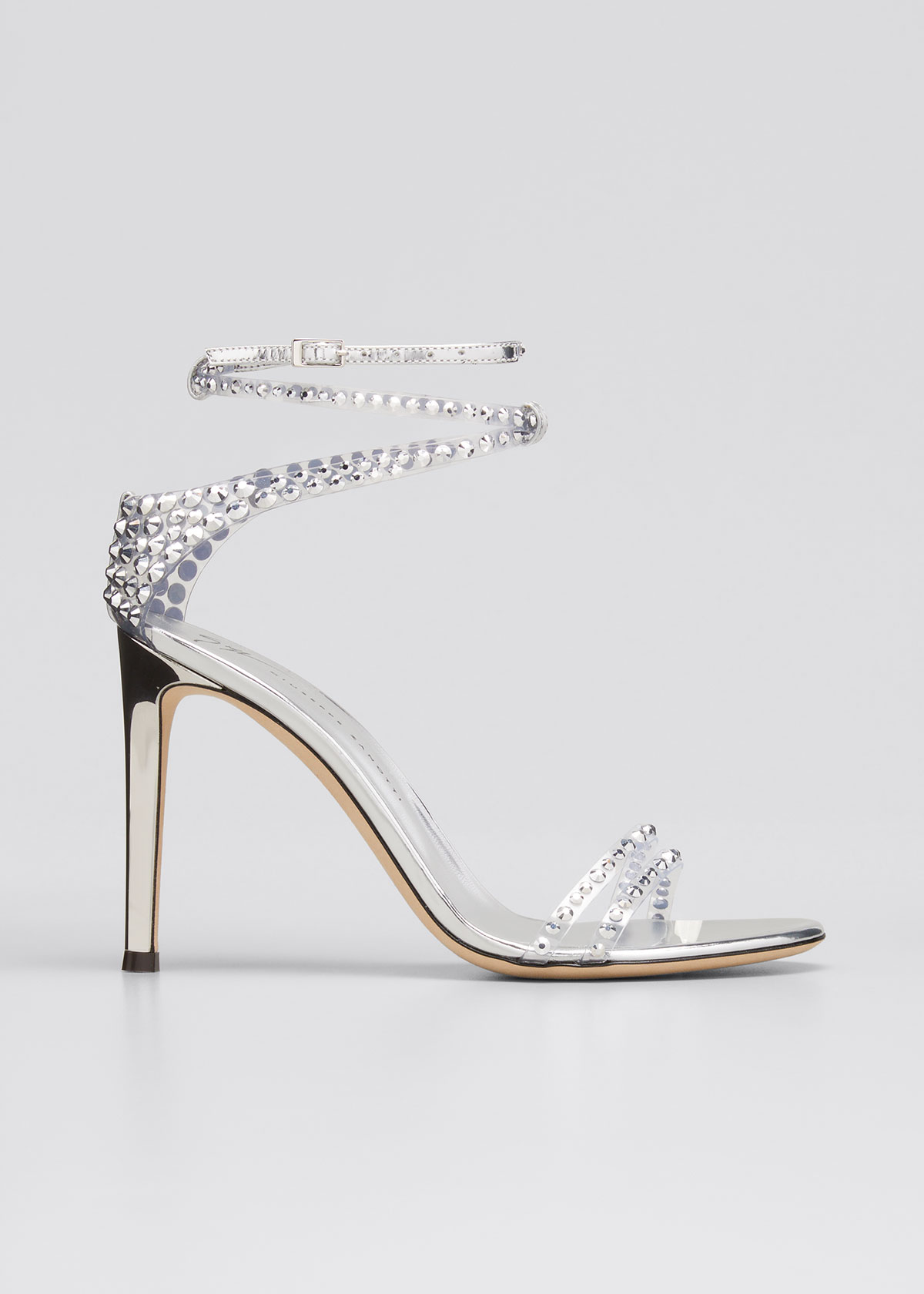 Giuseppe Zanotti CRYSTAL EMBELLISHED ANKLE-STRAP STILETTO SANDALS