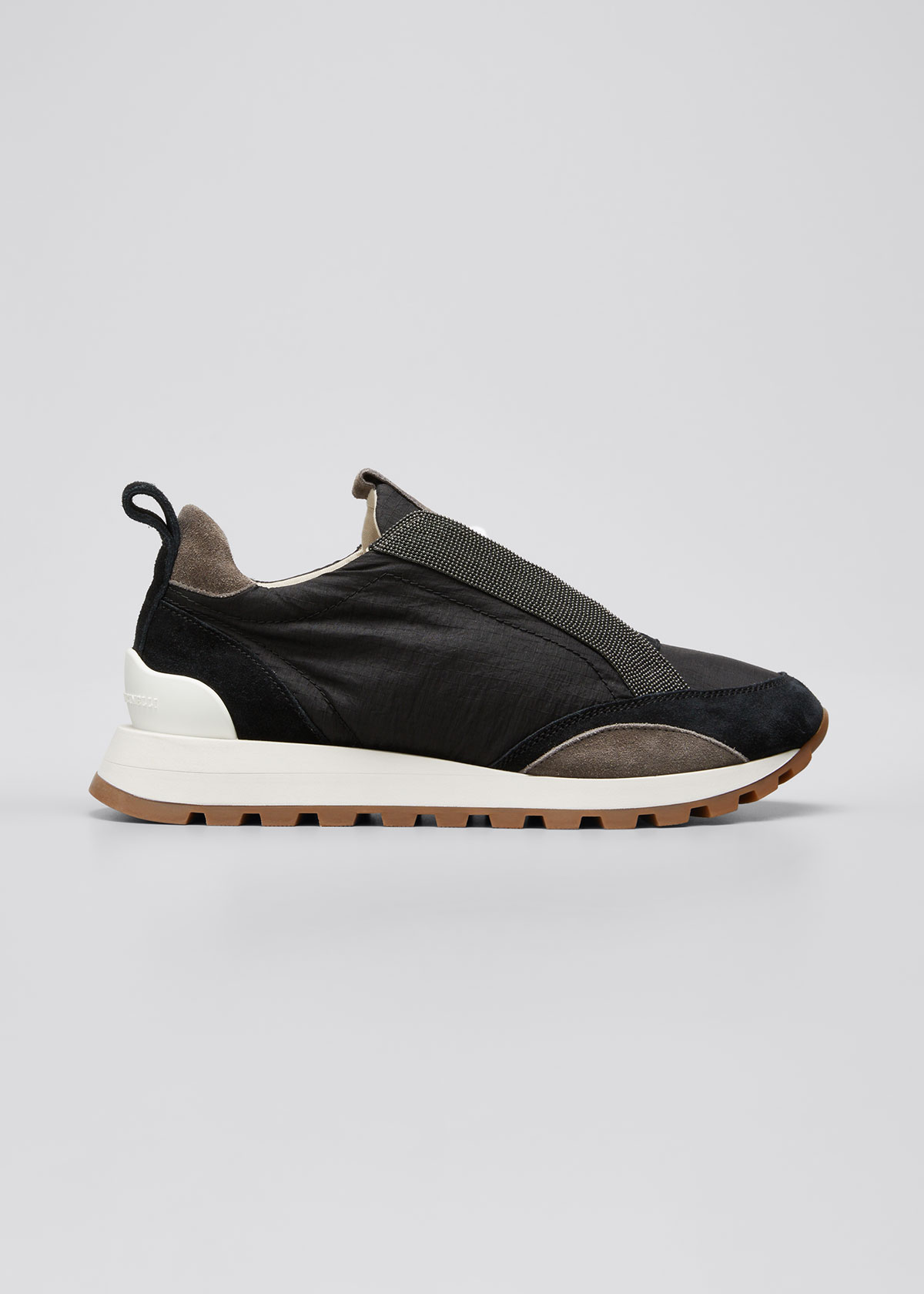 Brunello Cucinelli Leathers MONILI LACE-UP RUNNER SNEAKERS