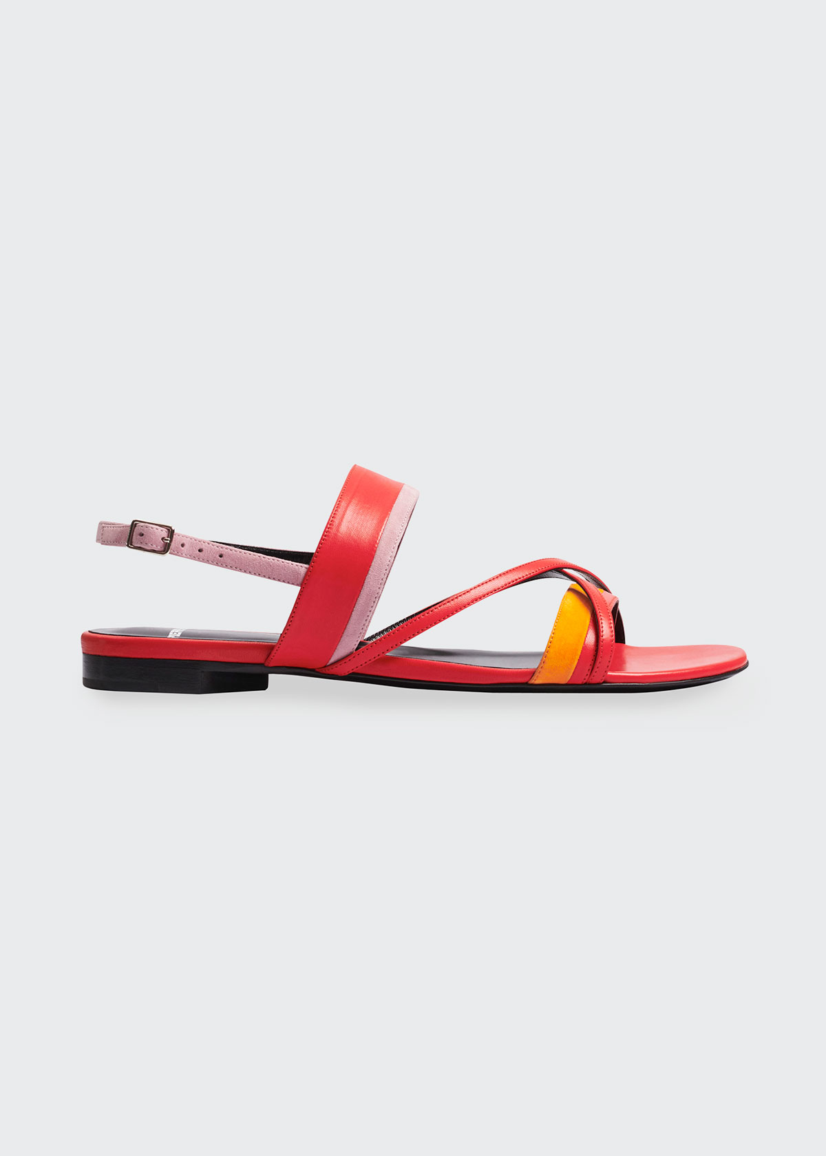 Pierre Hardy ALPHA COLORBLOCK MIXED LEATHER FLAT SANDALS