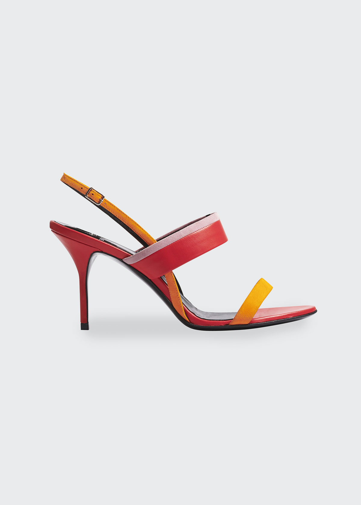 Pierre Hardy ALPHA 80MM COLORBLOCK MIXED LEATHER SANDALS