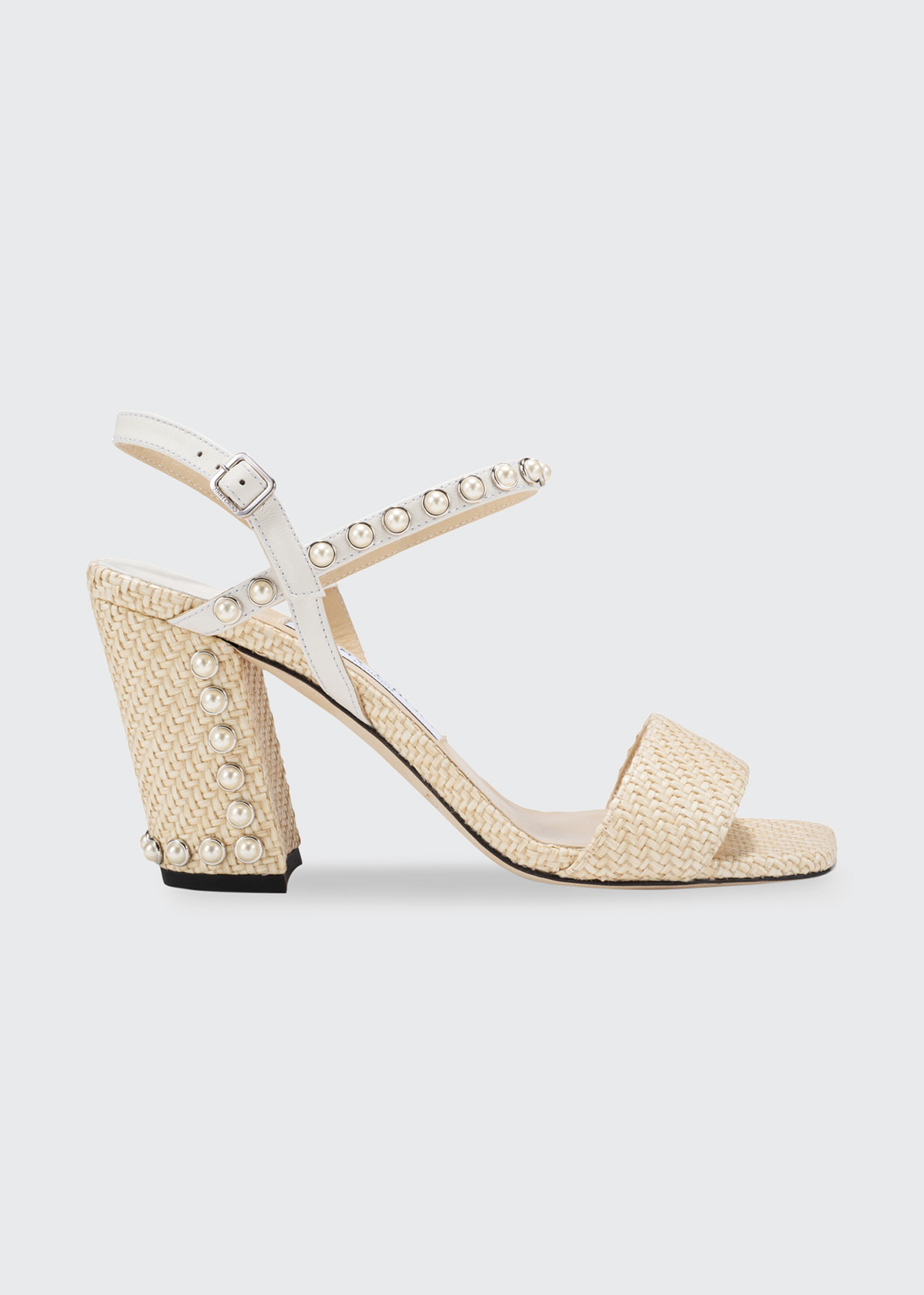Jimmy Choo Leathers AADRA PEARLY STUD ANKLE-STRAP WOVEN SANDALS