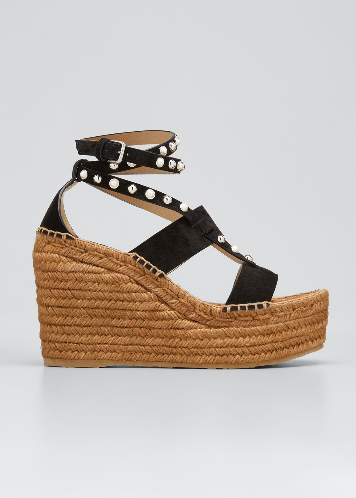 Jimmy Choo Suedes DANICA PEARLY CALFSKIN WEDGE ESPADRILLE SANDALS