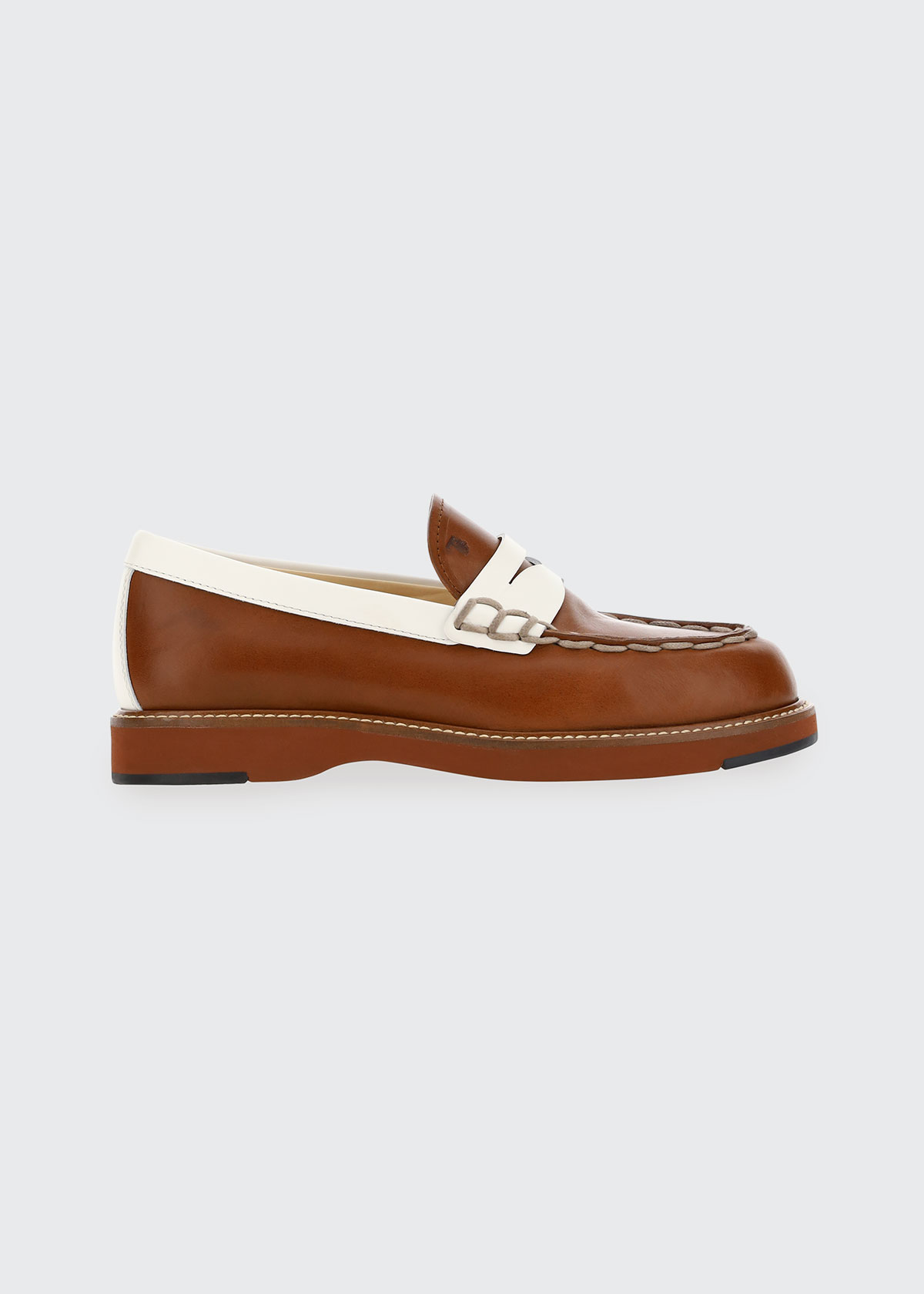 Tod's BARCA BICOLOR LEATHER PENNY LOAFERS