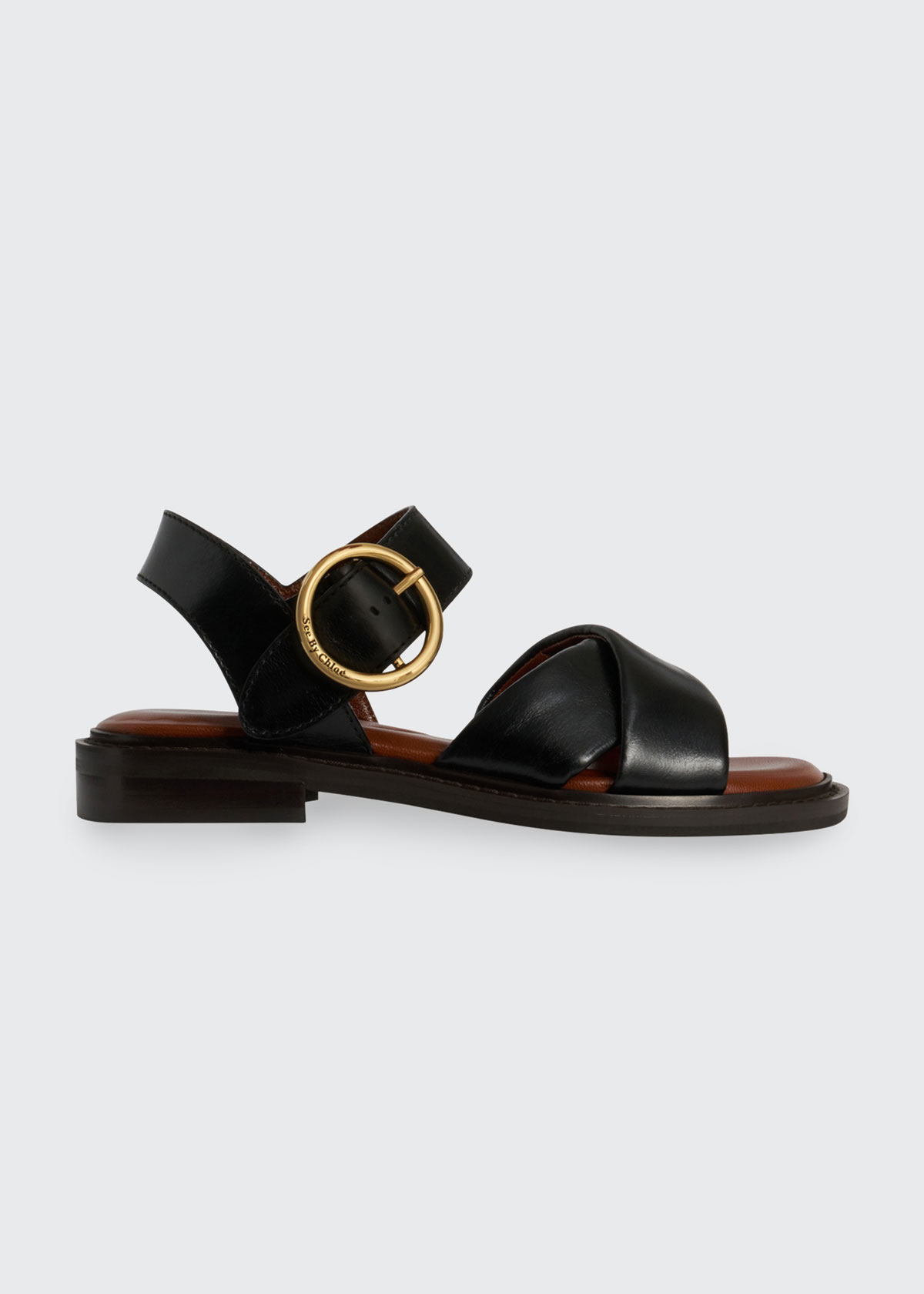 See By Chloé Leathers LYNA LEATHER CRISSCROSS SANDALS