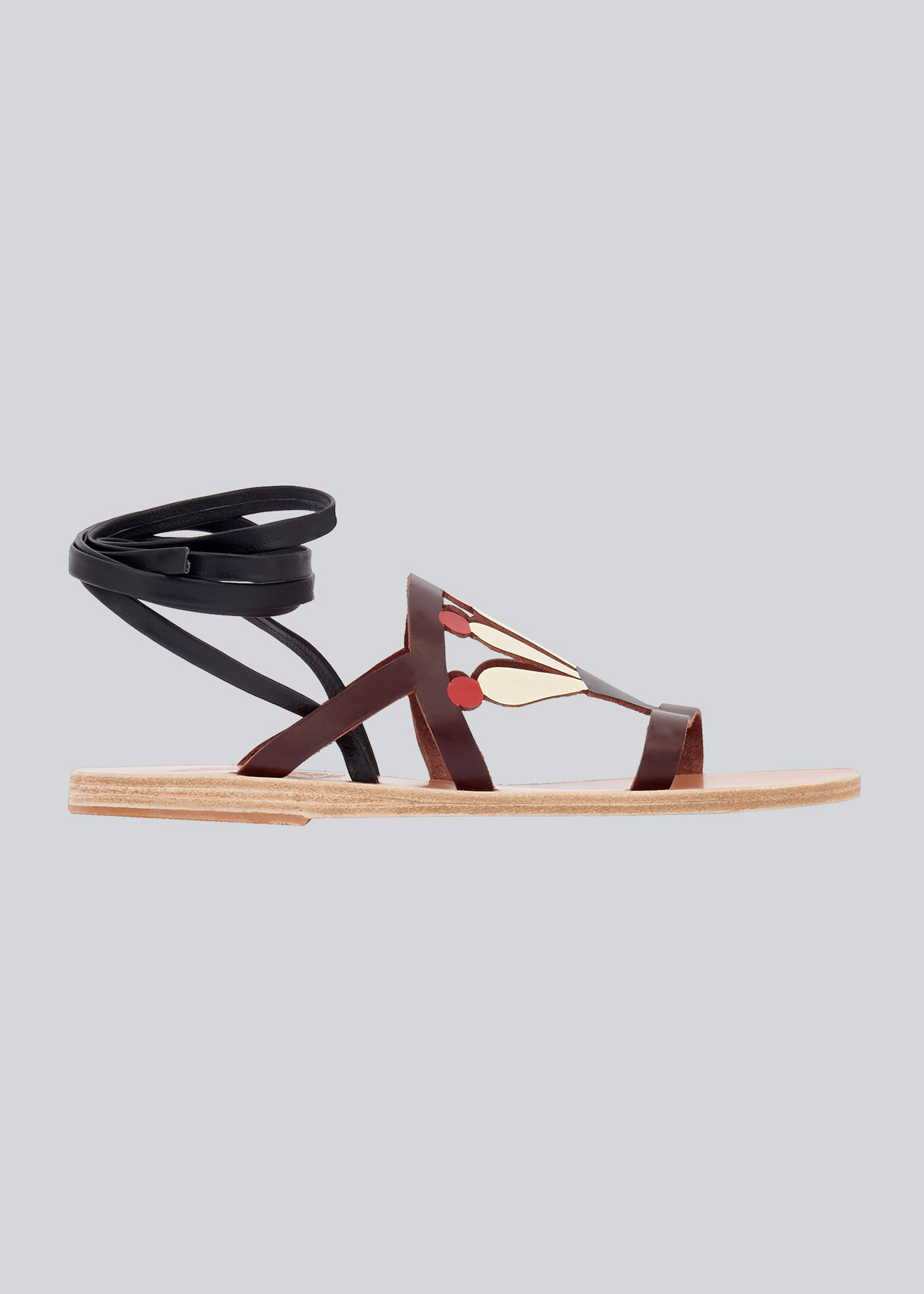 Ancient Greek Sandals LILLY PRINTED ANKLE-WRAP FLAT SANDALS