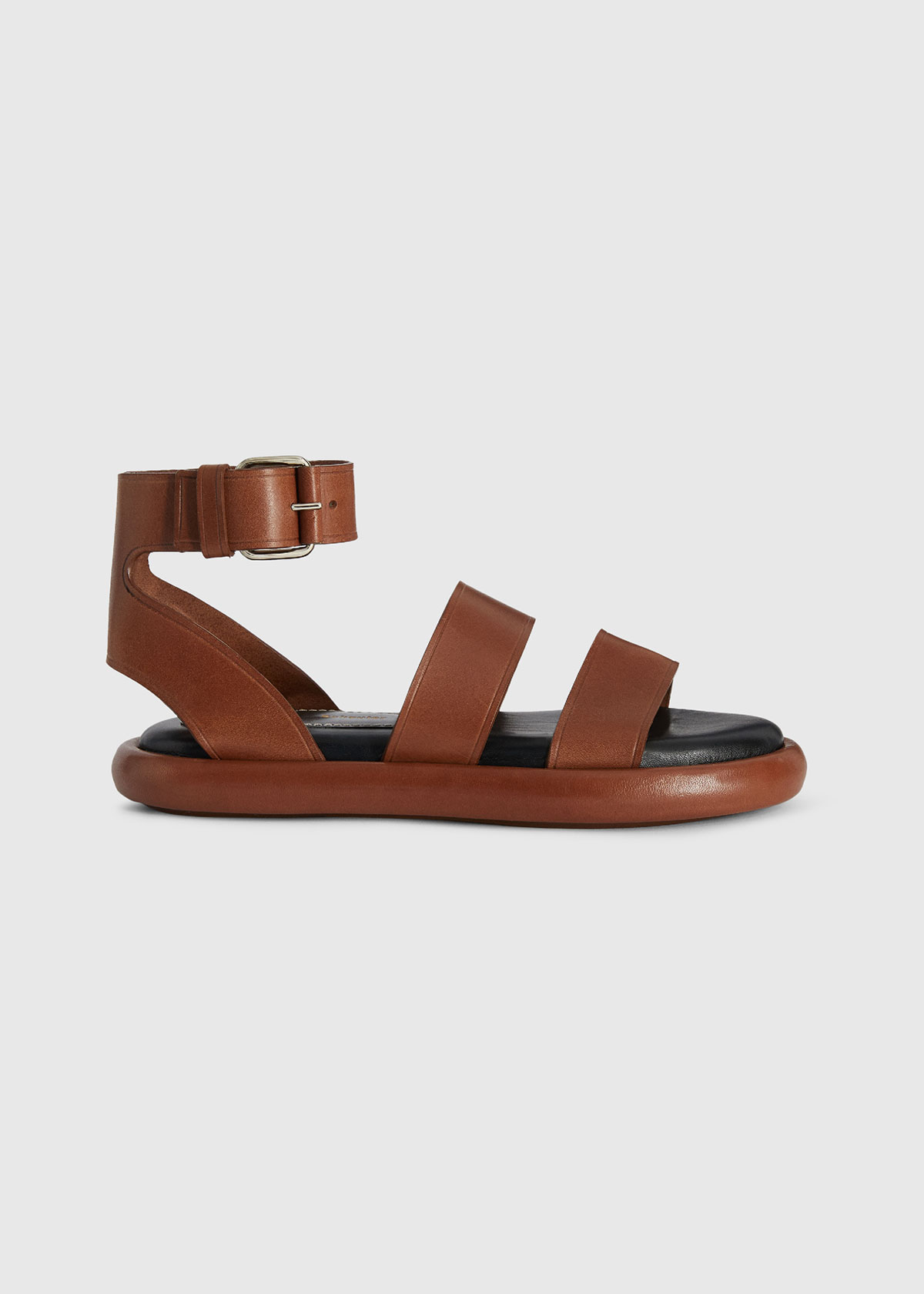 Proenza Schouler Leathers PIPE LEATHER ANKLE-STRAP FLAT SANDALS