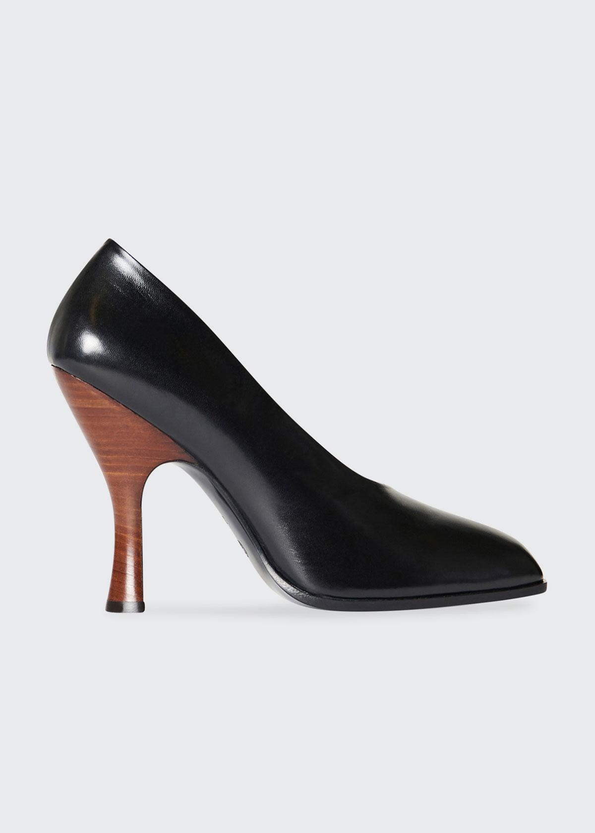 The Row Shoes JADE CALFSKIN CONTRAST-HEEL PUMPS