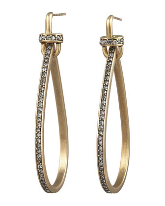 Pave Teardrop Hoop Earrings