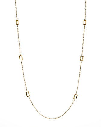 Gold Rectangle-Station Necklace, 40