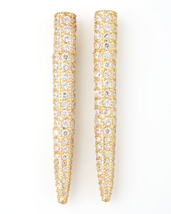 Pave Crystal Spike Earrings, Yellow Gold