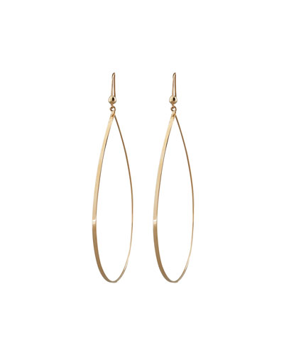 Gold Flat Teardrop Earrings, Large