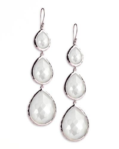 Triple Teardrop Earrings, Mother-of-Pearl