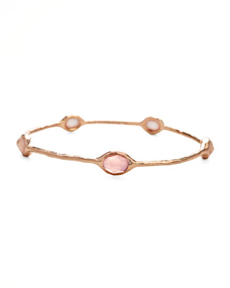 Rose Gold Rose Quartz Station Bangle