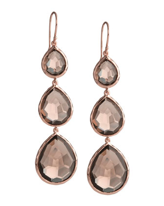Triple-Drop Rose Gold Earrings, Smoky Quartz