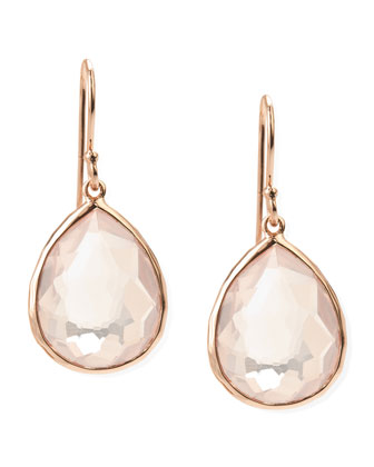 Single-Drop Rose Gold Earrings, Clear Quartz