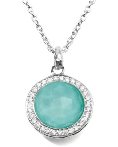 Stella Lollipop Pendant Necklace in Turquoise Doublet with Diamonds